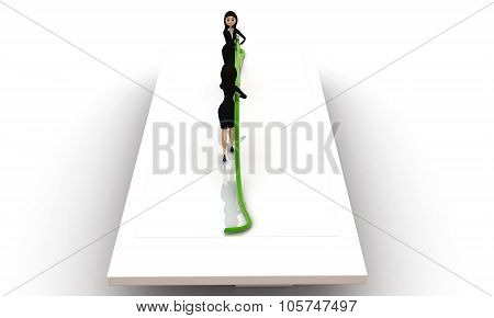 3D Woman Pulling Rope From Opposite Sides Concept