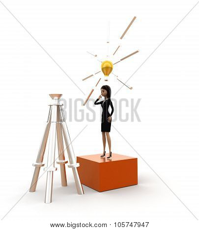 3D Woman Idea  In Front Of A Tripod Stand Concept