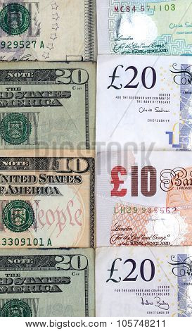 British And American Money Side By Side