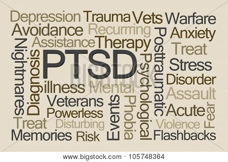 PTSD Word Cloud on Brown Background