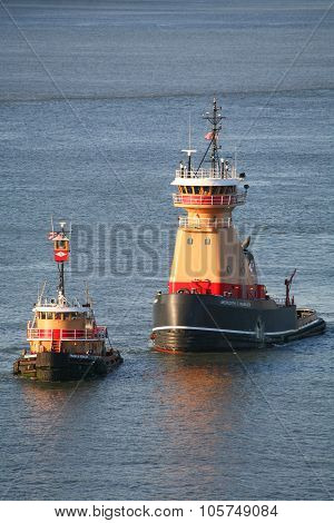 Two Tugboats In East River