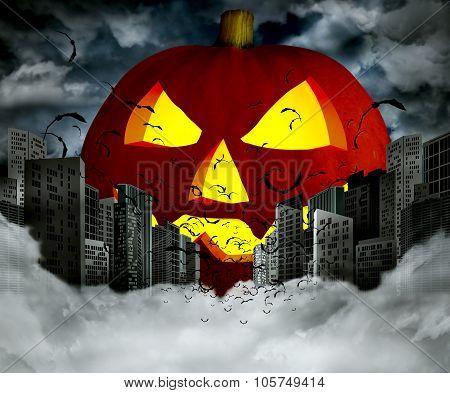 Halloween Pumpkin And Bats