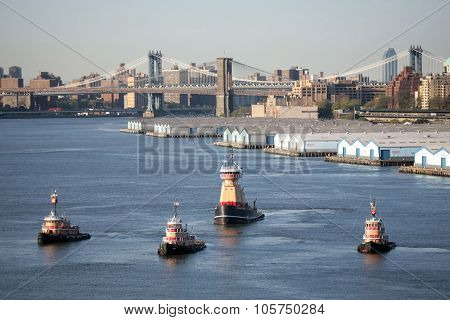 Four Tugboats In New York City