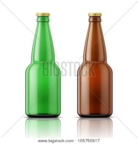 Green and brown beer bottles with cap.