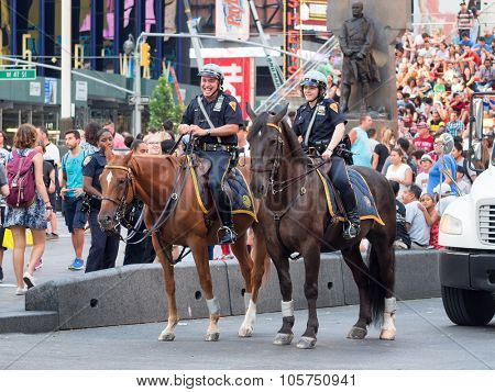 NEW YORK,USA - AUGUST 14,2015 : Mounted police at Times Square in New York City