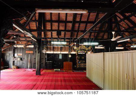 Interior of Kampung Laut Mosque at Nilam Puri Kelantan, Malaysia