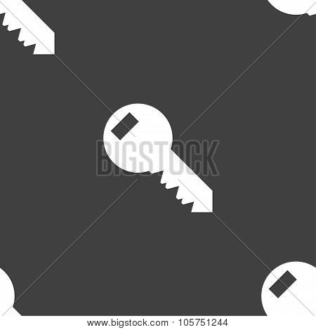 Key Sign Icon. Unlock Tool Symbol.. Seamless Pattern On A Gray Background. Vector
