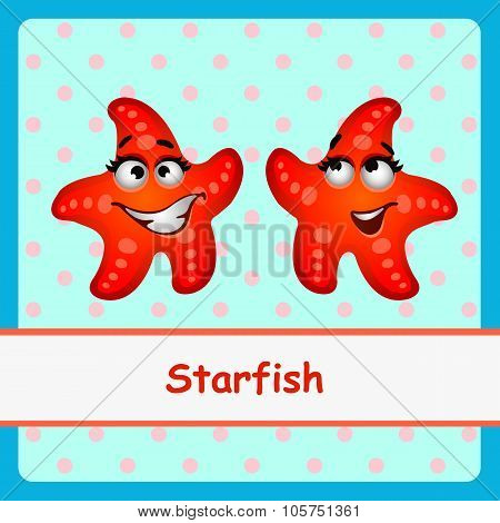 Starfish, funny characters on a blue background