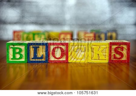 Word Of Blocks Spelled With Colorful Wooden Alphabet Blocks.