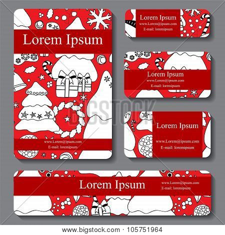 Stock Vector Set Of Business Card. Decorative Ornament. Christmas Design