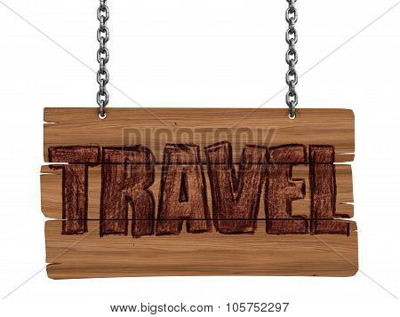 Wooden Blackboard with travel (clipping path included)