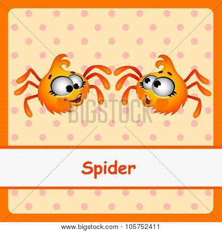 Spider, funny characters on a orange background