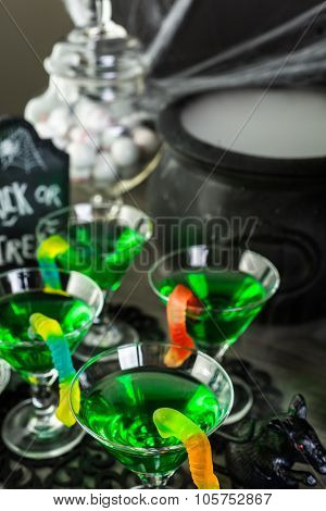 Fresh non-alcoholic cocktails prepared for Halloween party..