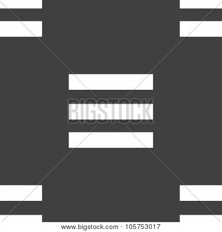 Align Text To The Width Icon Sign. Seamless Pattern On A Gray Background. Vector