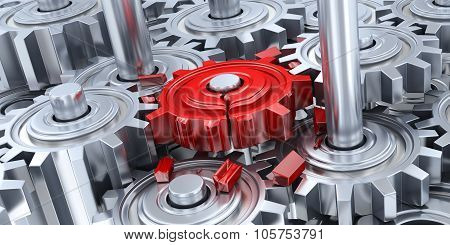 Gears And Broken Red Gear