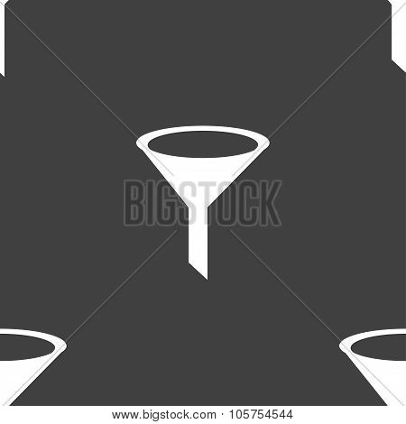 Funnel Icon Sign. Seamless Pattern On A Gray Background. Vector