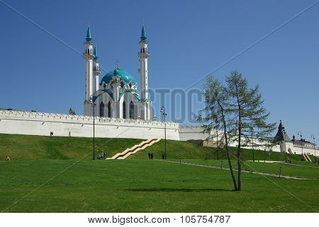 Kazan, Republic Tatarstan, Russia - May 06, 2014: Qol Sharif Mosque In The Kazan Kremlin