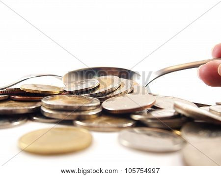 Take Up Coins By Spoon, Thai Baht Money