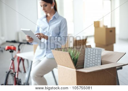 Business Woman Moving In A New Office