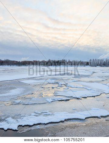 Thin ice in lake