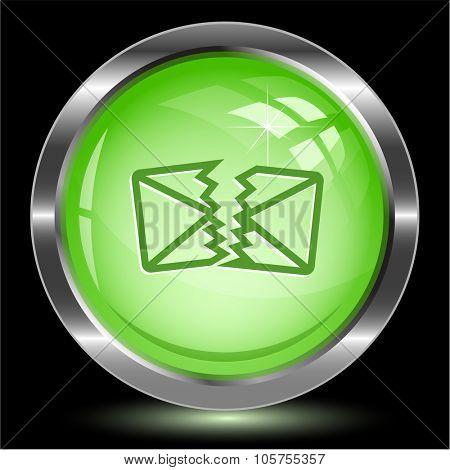 defective mail. Internet button. Raster illustration.
