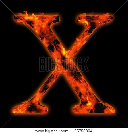 Concept conceptual red hot burning fire font  in red and orange flames isolated on black background