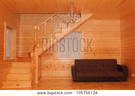 Wooden House Interior - Corner Stairs And Sofa