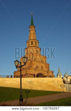 Soyembika Tower And Palace Church In Kazan Kremlin