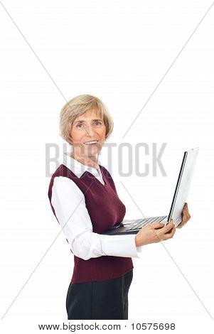 Happy Senior Holding Laptop