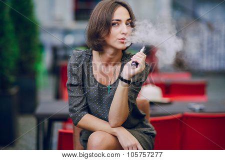 girl with E-cigarette