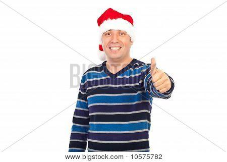 Successful  Smiling Man In Santa Hat