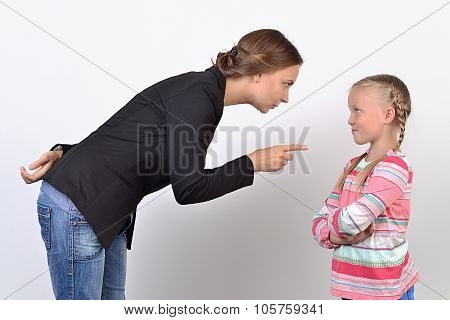 Mother and daughter having quarrel