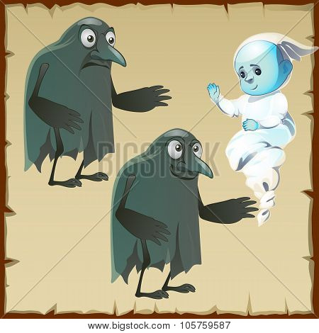Two ghosts sad and cheerful with beak crows