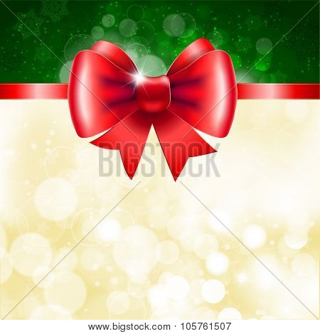 Red ribbon with bow on shining background.
