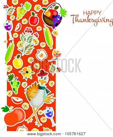 Flat Design Style Happy Thanksgiving Day Background