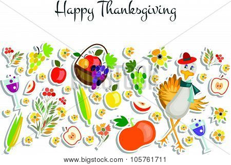 Lat Design Style Happy Thanksgiving Day Background