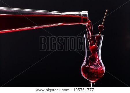 Cranberry Liquor On Black Background