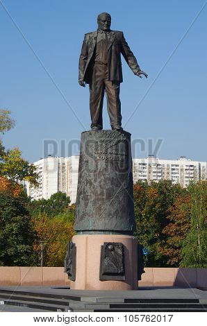 Statue Of Sergey Korolev (chief Designer Of The Soviet Space Program) In The Park Outdoors Of Cosmon