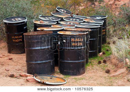 Human Waste Barrels