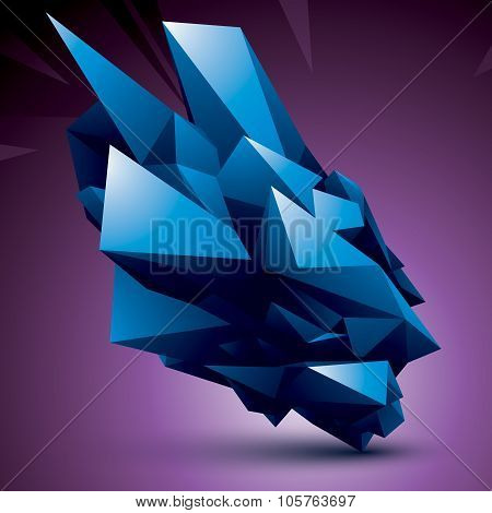 Vector Complicated 3D Figure, Modern Digital Technology Style Colorful Form. Abstract Unusual Backgr