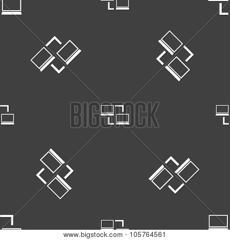 Synchronization Sign Icon. Notebooks Sync Symbol. Data Exchange. Seamless Pattern On A Gray Backgrou