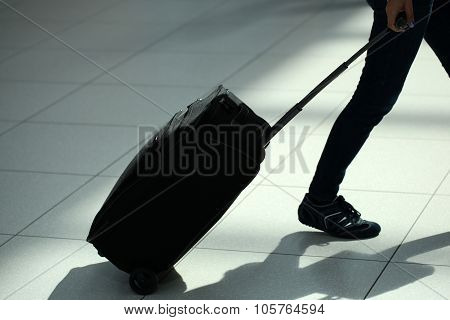 Legs Moving With Rolling Suitcase