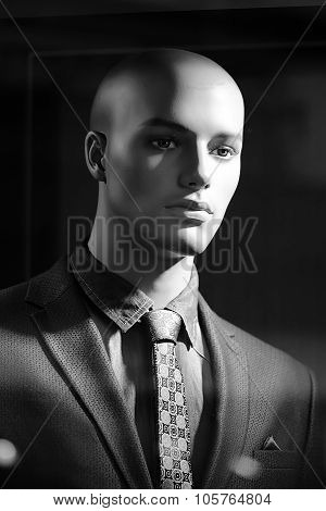 Portrait Of Bald-headed Fashion Mannequin