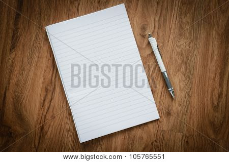 Blank Page Of Notebook, Pencil, Business Concept