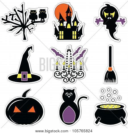 2 Halloween Icons Set In Color Label