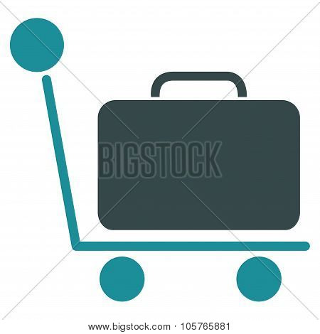 Luggage Trolley Flat Icon