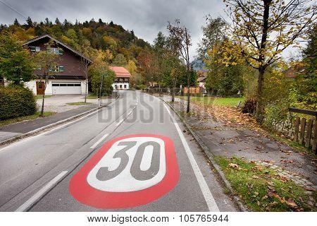 Speed Limit Sign In The Village