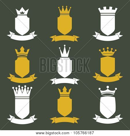 Collection Of Empire Design Elements. Heraldic Royal Coronet Illustration. Set Of Luxury Vector Shie