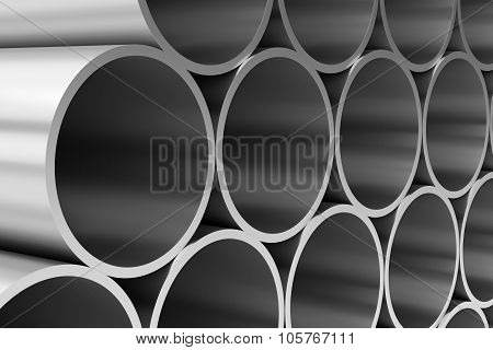 Shiny Steel Pipes Closeup View