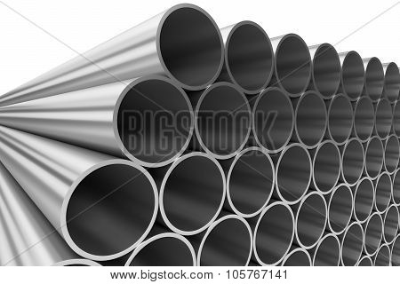 Shiny Steel Pipes In Rows Isolated On White
